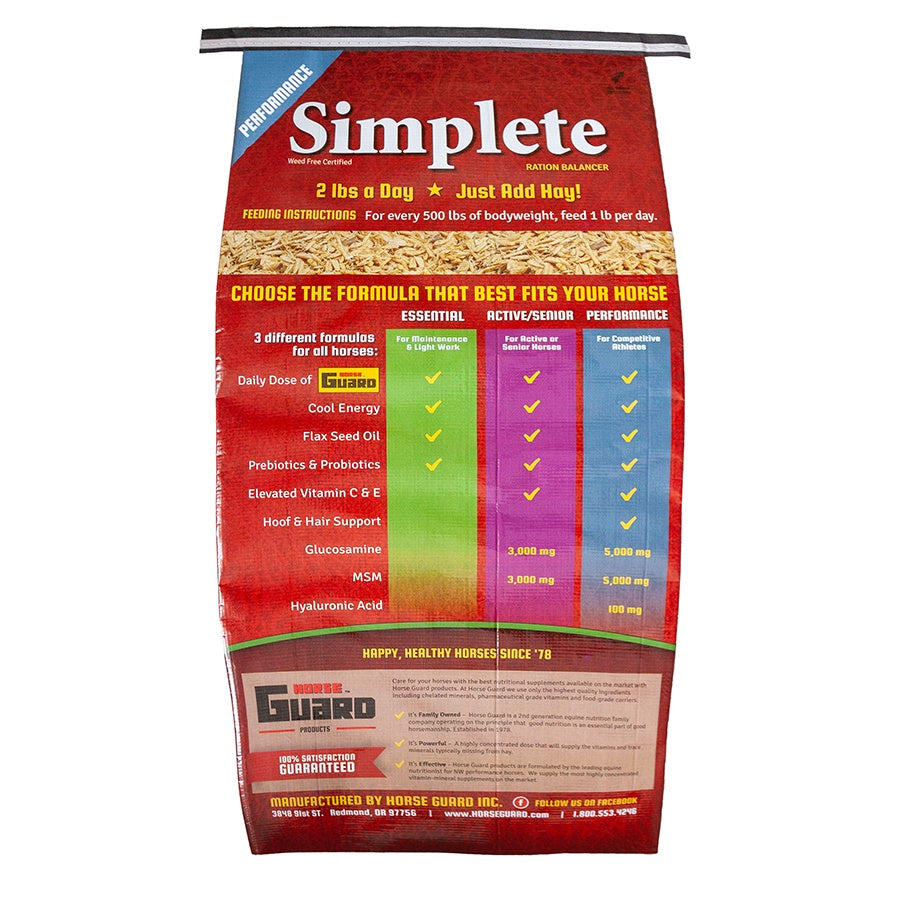 Simplete High Performance 44lb Back Complete Supplement by Horse Guard