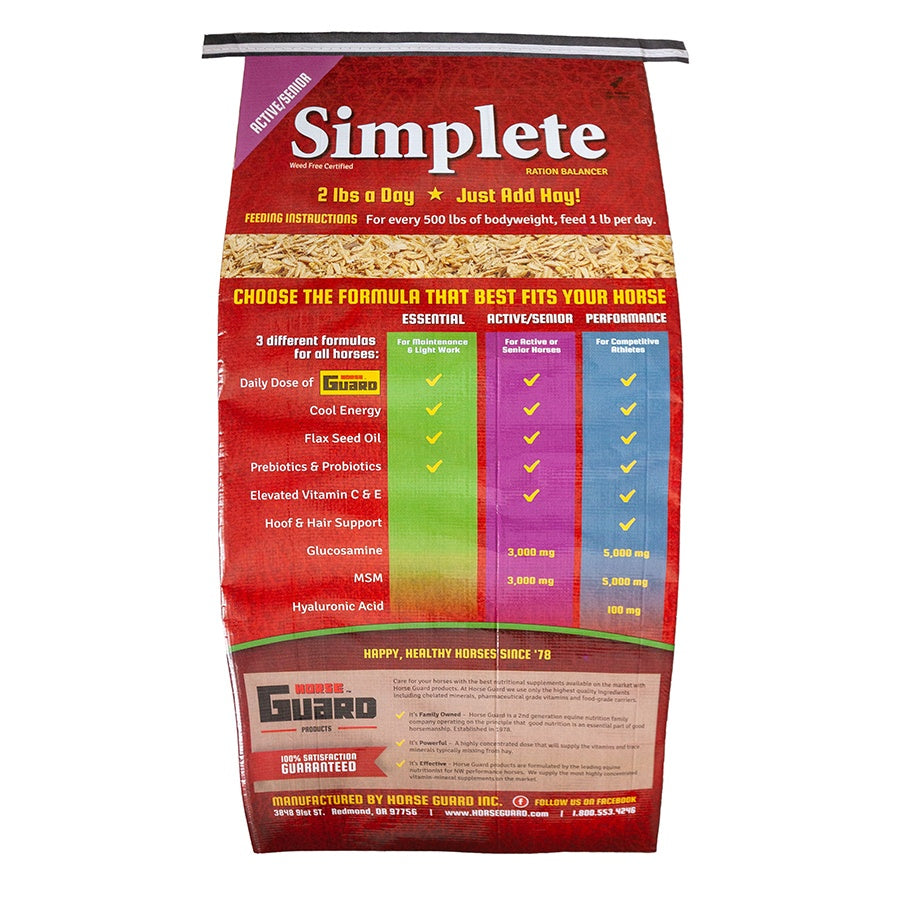 Simplete Senior Active 44lb Back Complete Supplement by Horse Guard