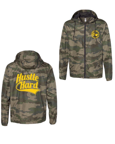"Camo ""Hustle Hard"" Windbreaker Jacket"