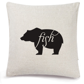 Animals Eat Cushion Cover: Bear Eats Fish