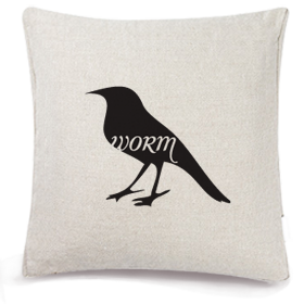 Animals Eat Cushion Cover: Bird Eats Worm
