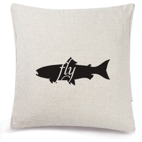 Animals Eat Cushion Cover: Fish Eats Fly