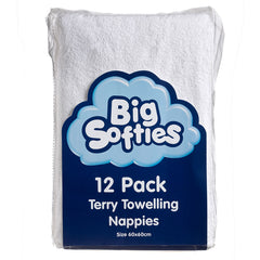 Big Softies 12pk Terry Towelling Flat Nappies