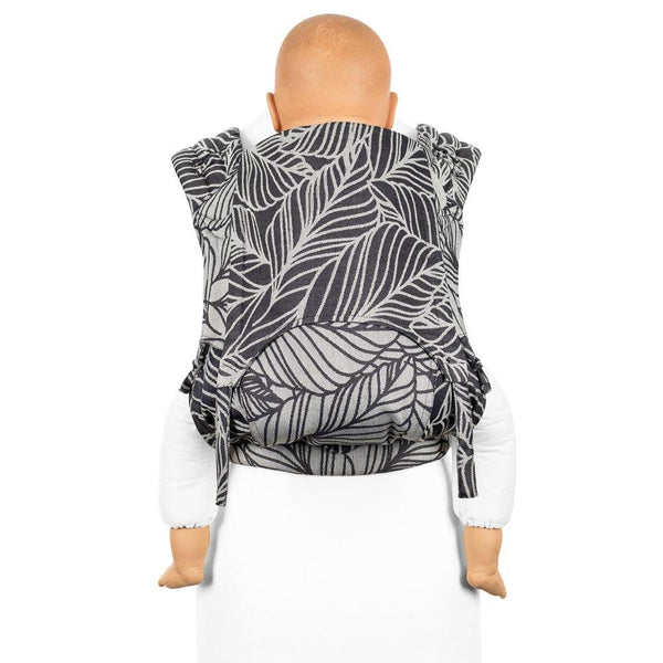Fidella FlyClick Plus Half Buckle Toddler Carrier in Anthracite and Silver Grey Dancing Leaves - Cloth & Carry, Perth