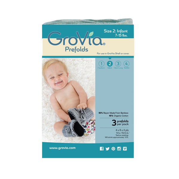 Grovia-Grovia Prefold Nappies - Cloth & Carry