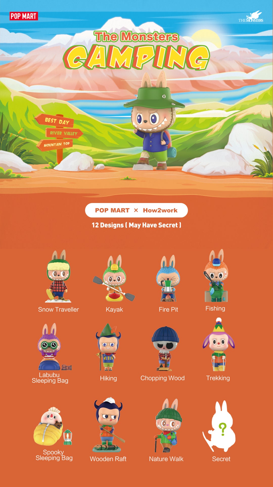 Moko Select  POP MART X How2work Labubu The Monsters Camping Series Blind Box Toys