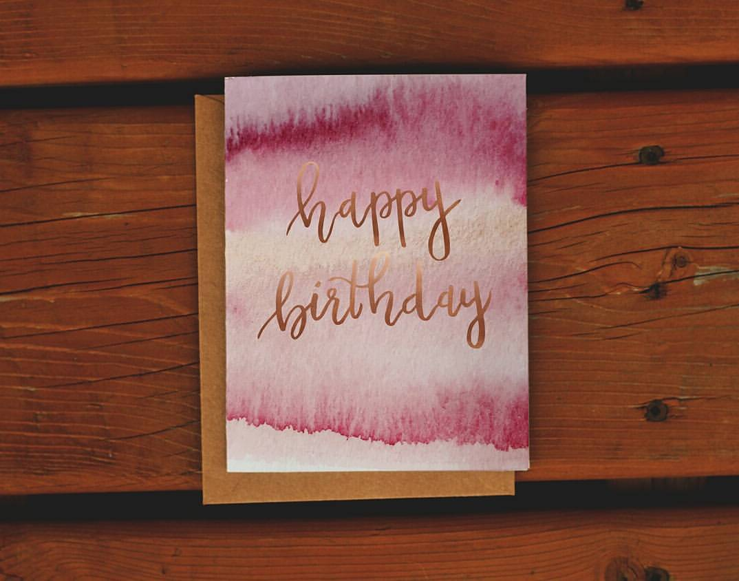 Happy Birthday Watercolour Greeting Card - Femme Wares Niagara Local Small Business