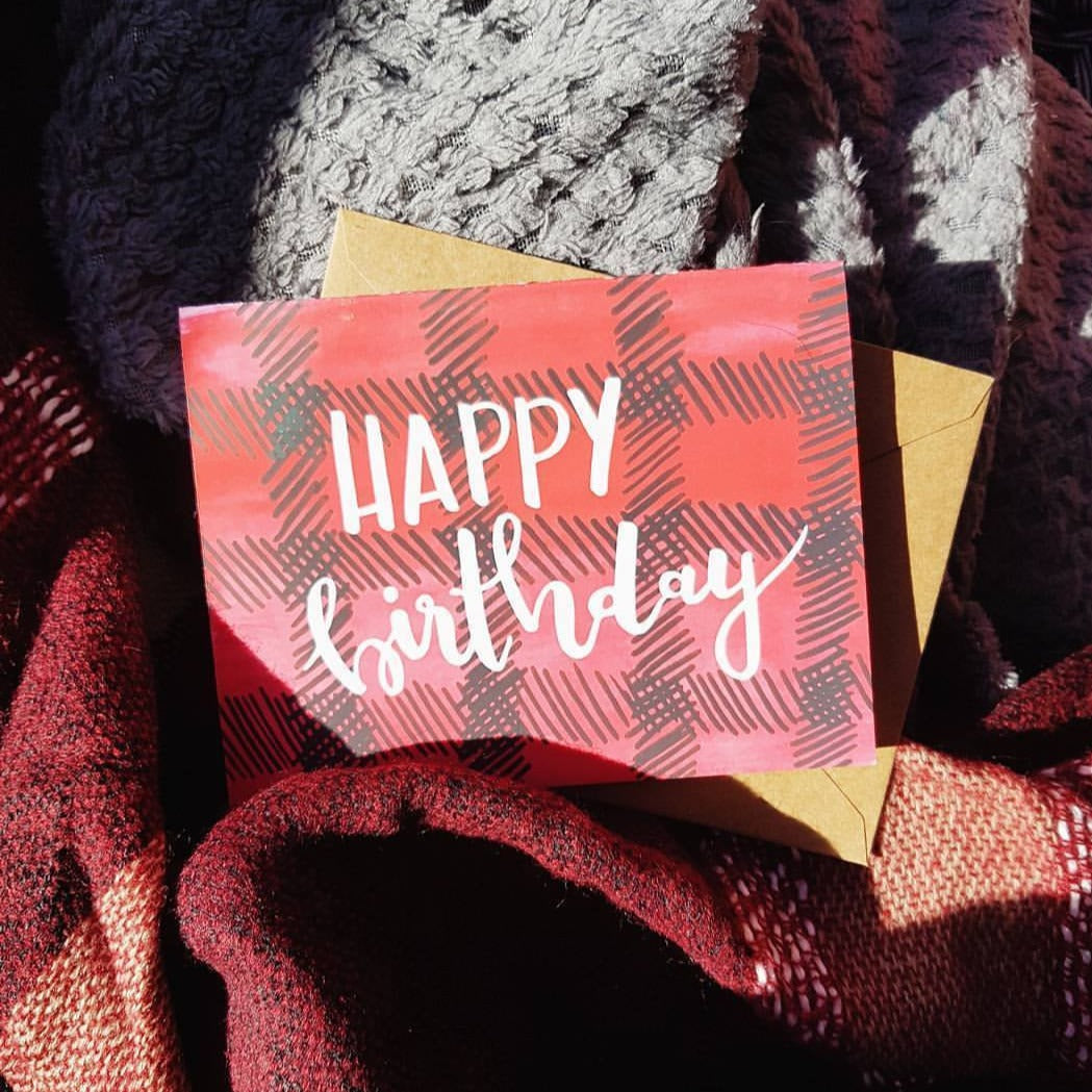 Happy Birthday Plaid Greeting Card - Femme Wares Niagara Local Small Business