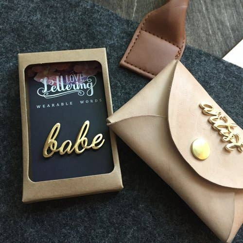 """Babe"" - Wearable Words Gold Plated Pin - Femme Wares Niagara Local Small Business"