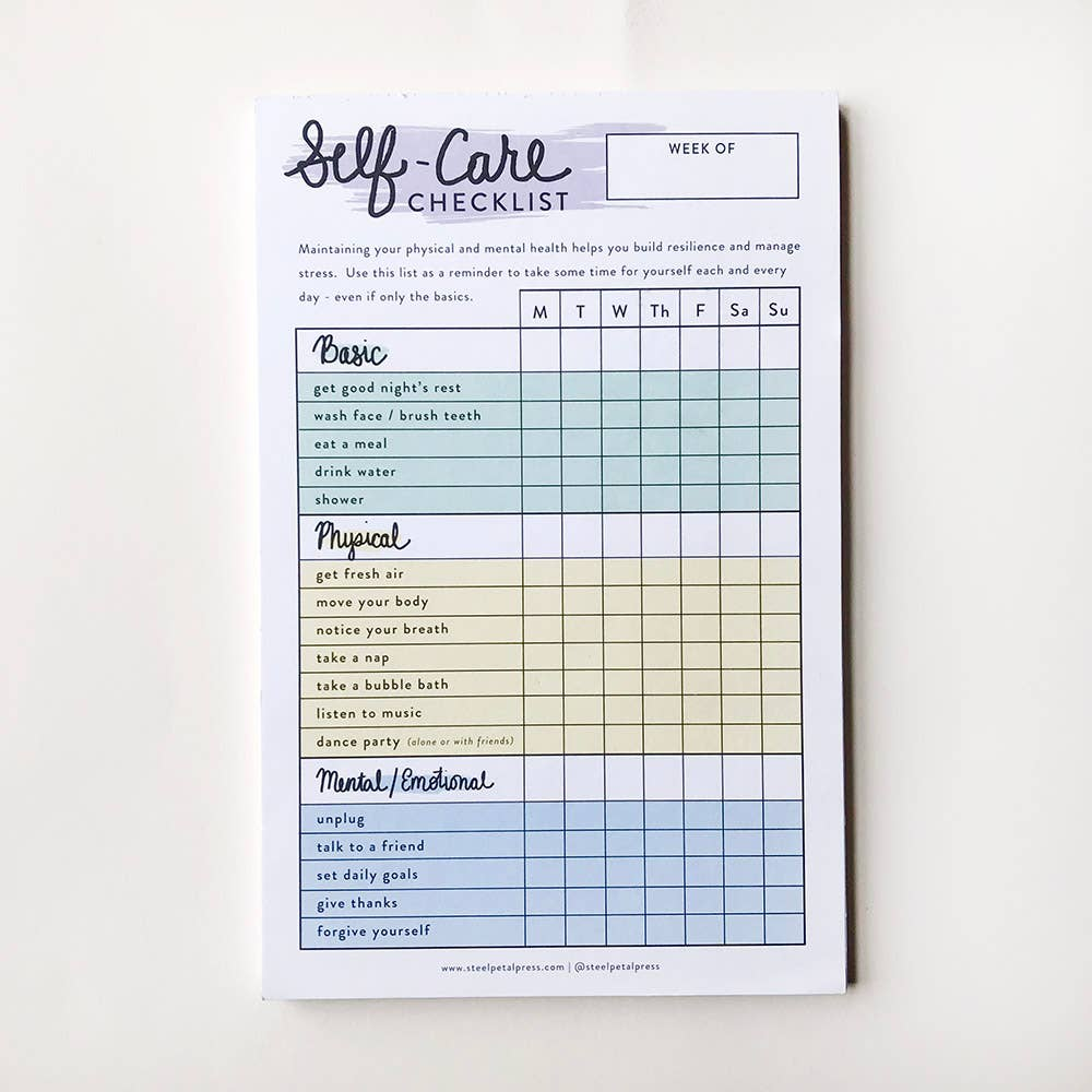 Self Care Checklist Tracker - Femme Wares Niagara Local Small Business