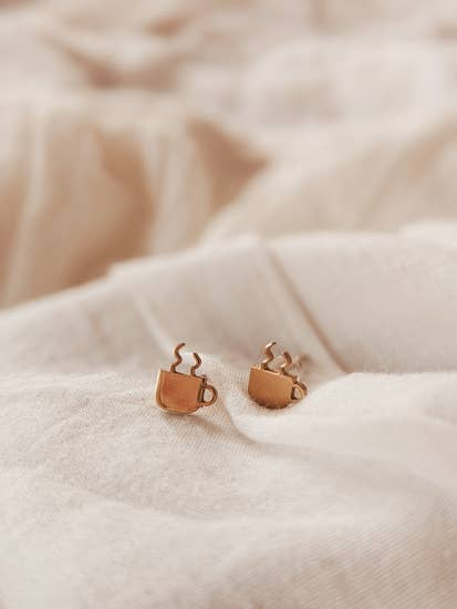 Coffee cups stud earring - Femme Wares Niagara Local Small Business