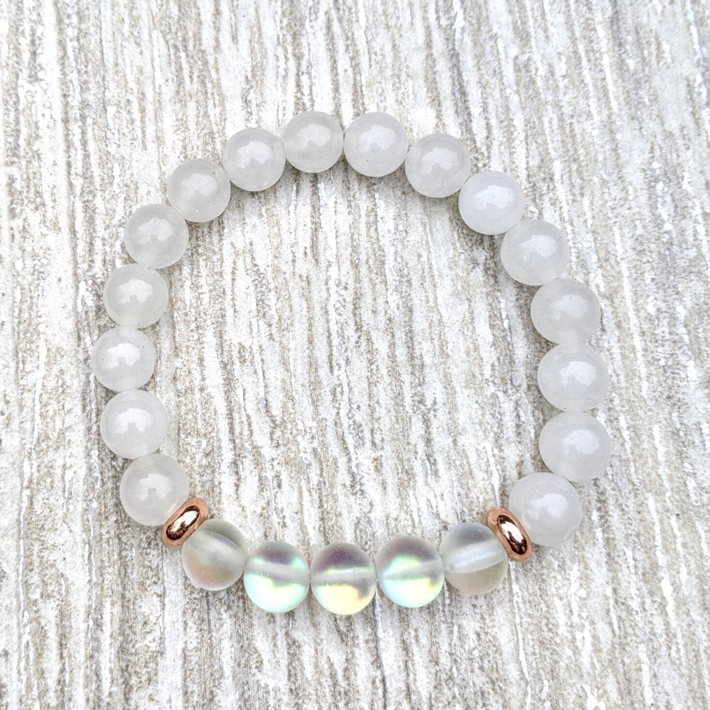 MOONSTONE JADE - Crystal Gemstone Bracelet - Femme Wares Niagara Local Small Business