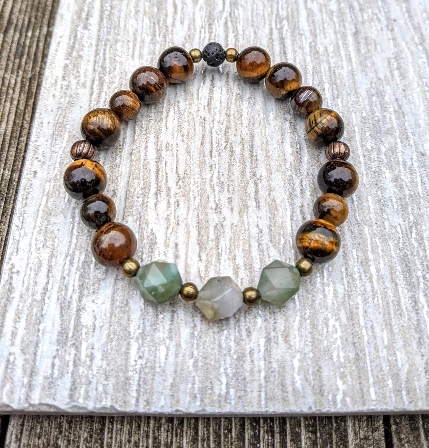 RUDEBECKIA - Tiger Eye + Chrysoprase Crystal Gemstone Bracelet - Femme Wares Niagara Local Small Business