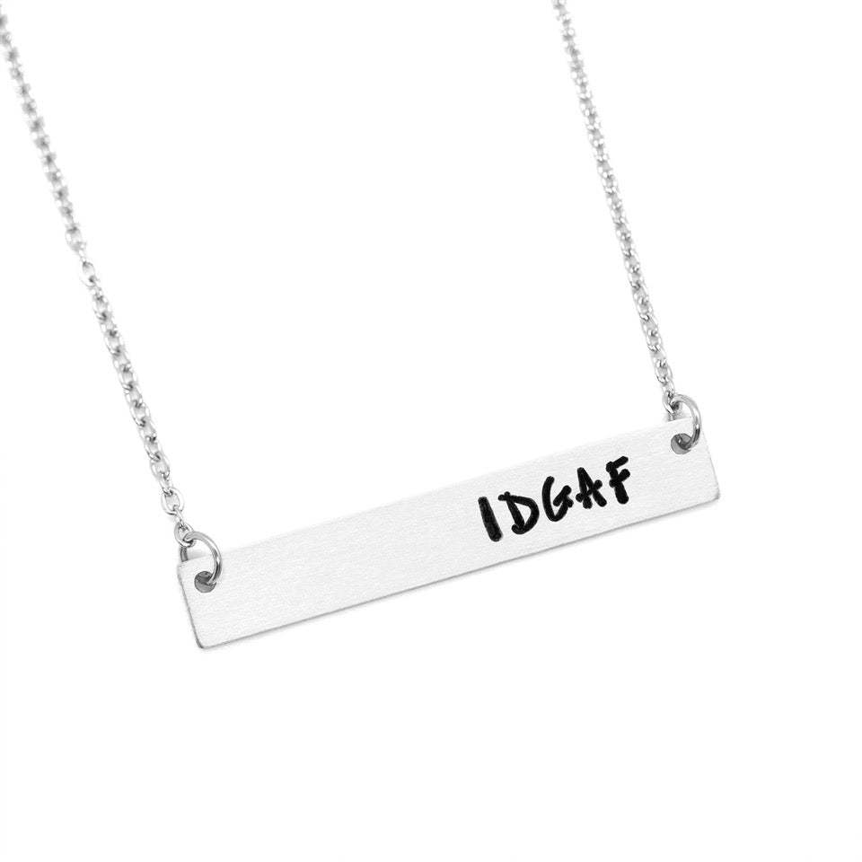 IDGAF - Hand-Stamped Bar Necklace - Femme Wares Niagara Local Small Business