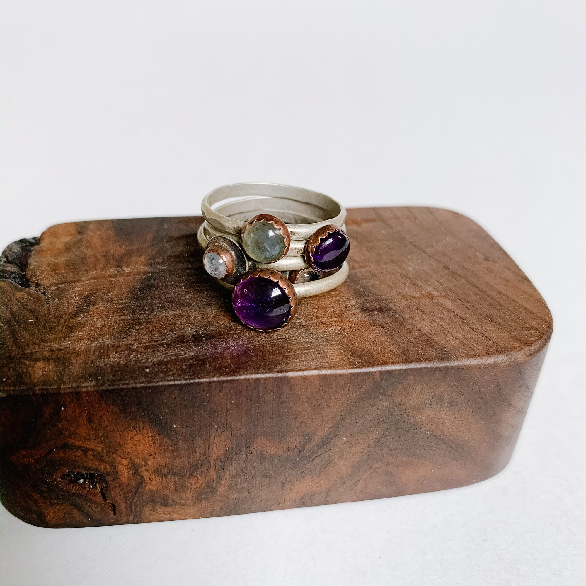 Small Amethyst Boho Stacking Ring - size 7.5 - Femme Wares Niagara Local Small Business