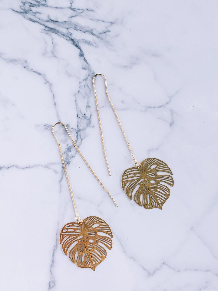 Gold Monstera Threader Earrings - Femme Wares Niagara Local Small Business