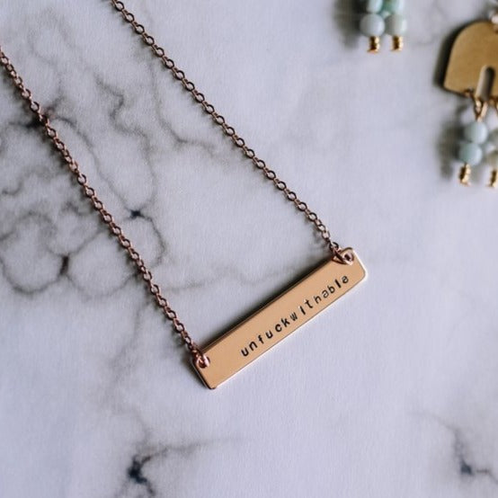 Unfuckwithable hand stamped bar layering necklace - Femme Wares Niagara Local Small Business