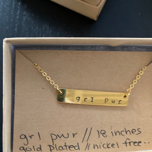 'grl pwr' hand stamped bar layering necklace - Femme Wares Niagara Local Small Business