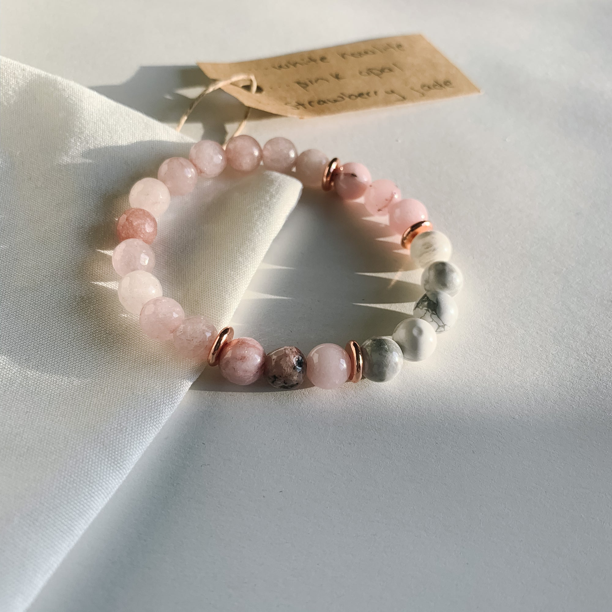 White Howlite, Pink Opal, Strawberry Jade - Crystal Gemstone Bracelet - Femme Wares Niagara Local Small Business