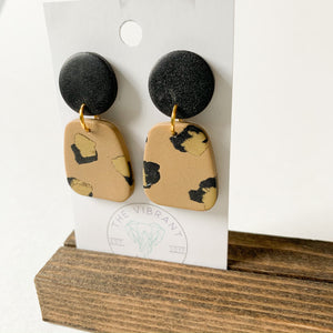 Polymer Clay Earring - Glam Leopard Trapezoid - Femme Wares Niagara Local Small Business