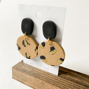 Polymer Clay Earring - Glam Leopard Circle - Femme Wares Niagara Local Small Business