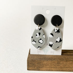 Polymer Clay Earring - Mono Leopard Petal - Femme Wares Niagara Local Small Business