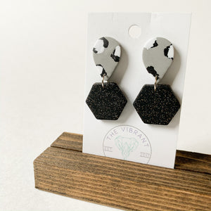 Polymer Clay Earring - Mono Leopard Small Hexagon Glitter - Femme Wares Niagara Local Small Business