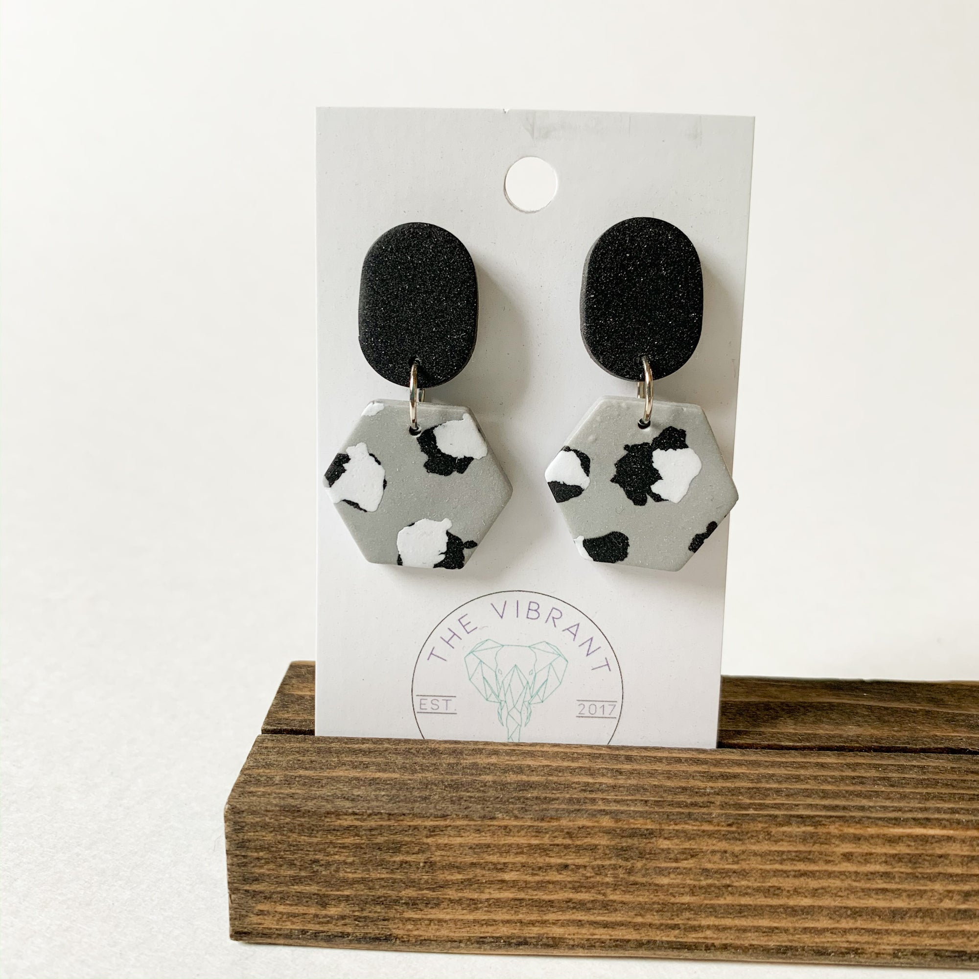 Polymer Clay Earring - Mono Leopard Small Hexagon - Femme Wares Niagara Local Small Business