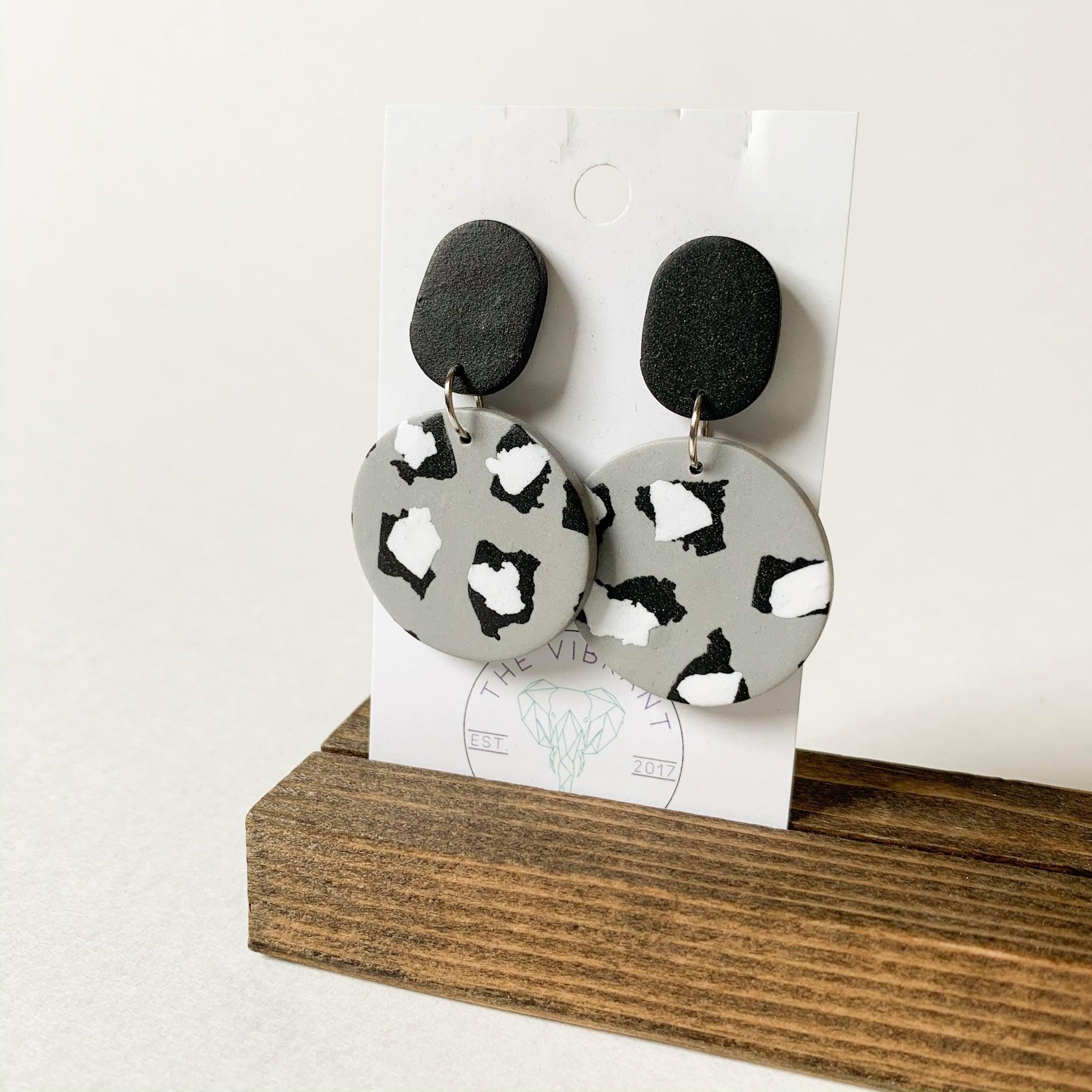 Polymer Clay Earring - Mono Leopard Circle - Femme Wares Niagara Local Small Business