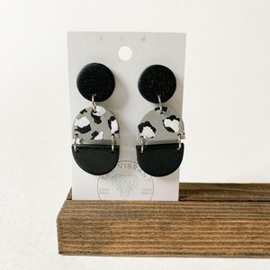 Polymer Clay Earring - Mono Leopard Triple - Femme Wares Niagara Local Small Business