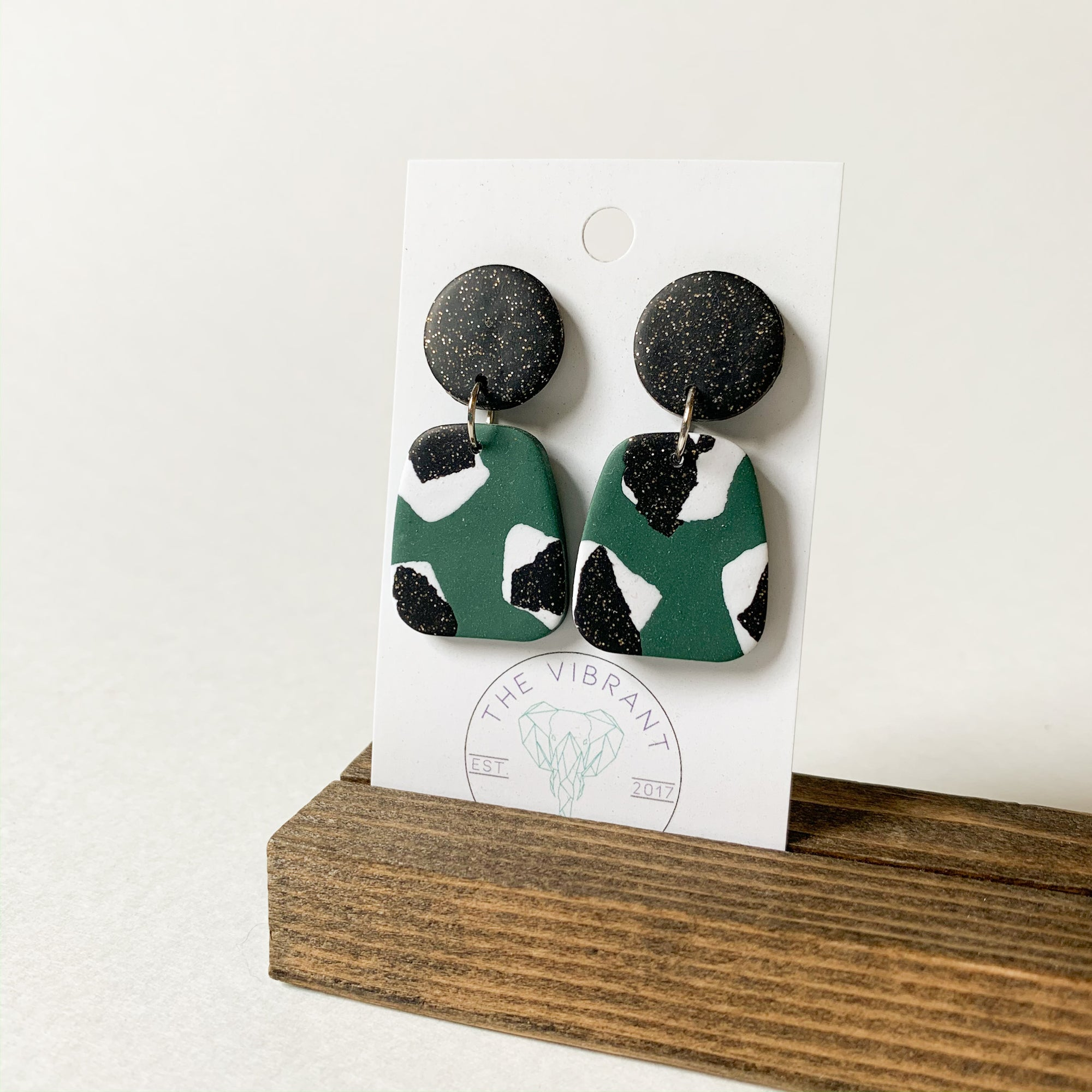 Polymer Clay Earring - Jungle Twinkle Small - Femme Wares Niagara Local Small Business