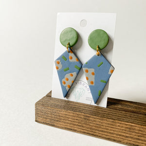 Polymer Clay Earring - Olive Branch Diamond - Femme Wares Niagara Local Small Business