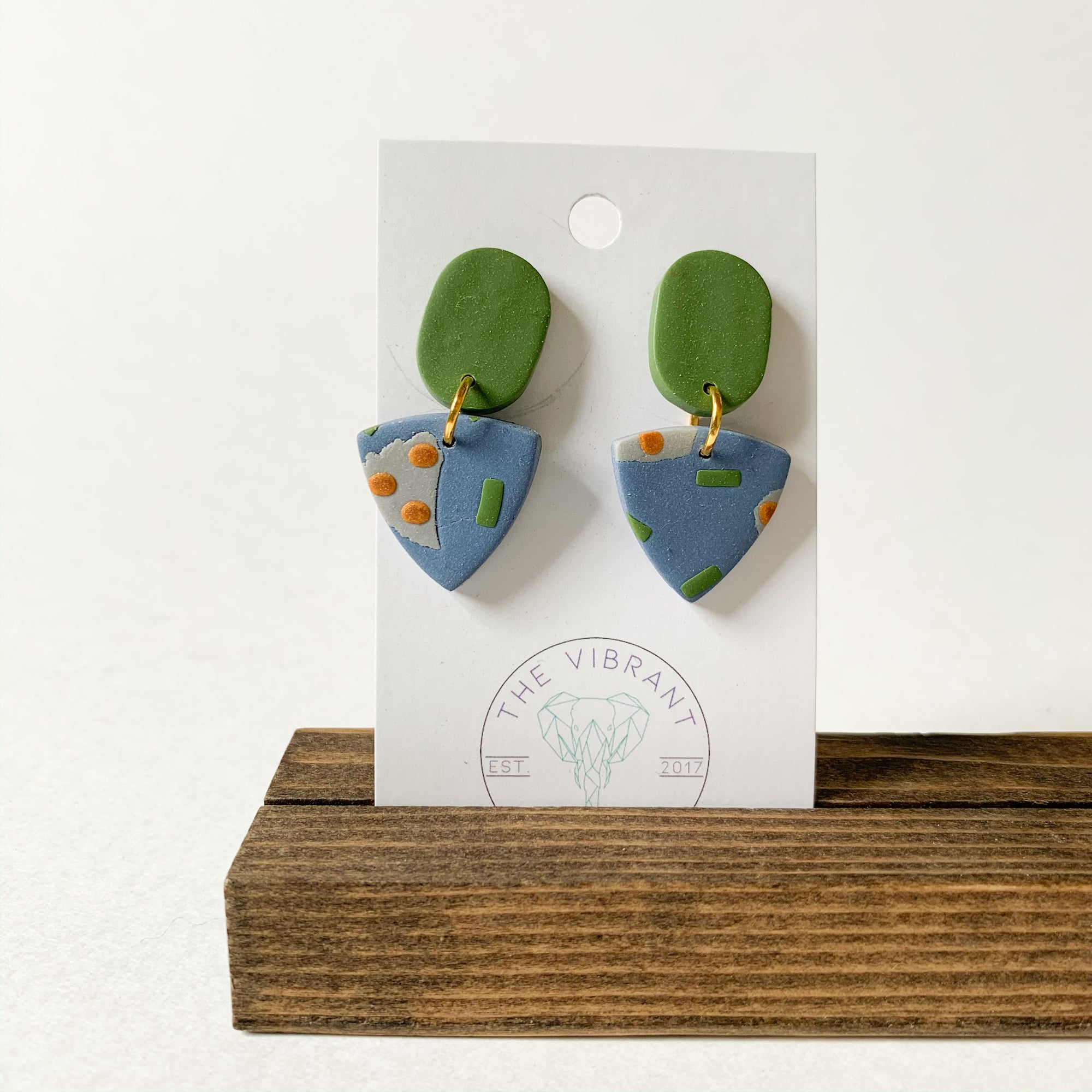 Polymer Clay Earring - Bluestone Green Circle - Femme Wares Niagara Local Small Business