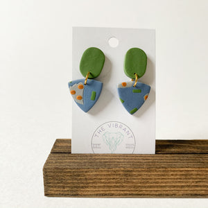 Polymer Clay Earring - Olive Branch Small Triangle - Femme Wares Niagara Local Small Business