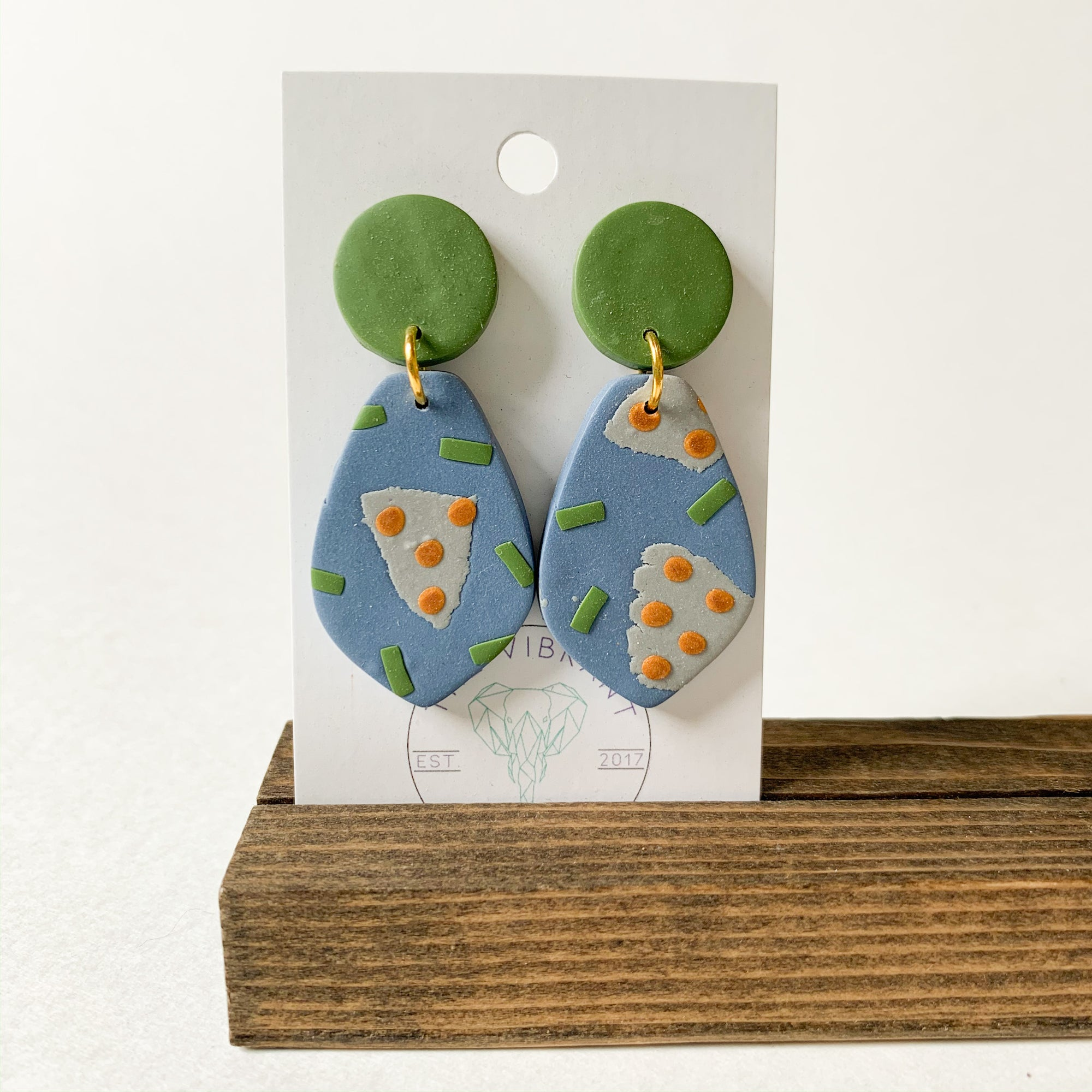Polymer Clay Earring - Olive Branch Petal - Femme Wares Niagara Local Small Business