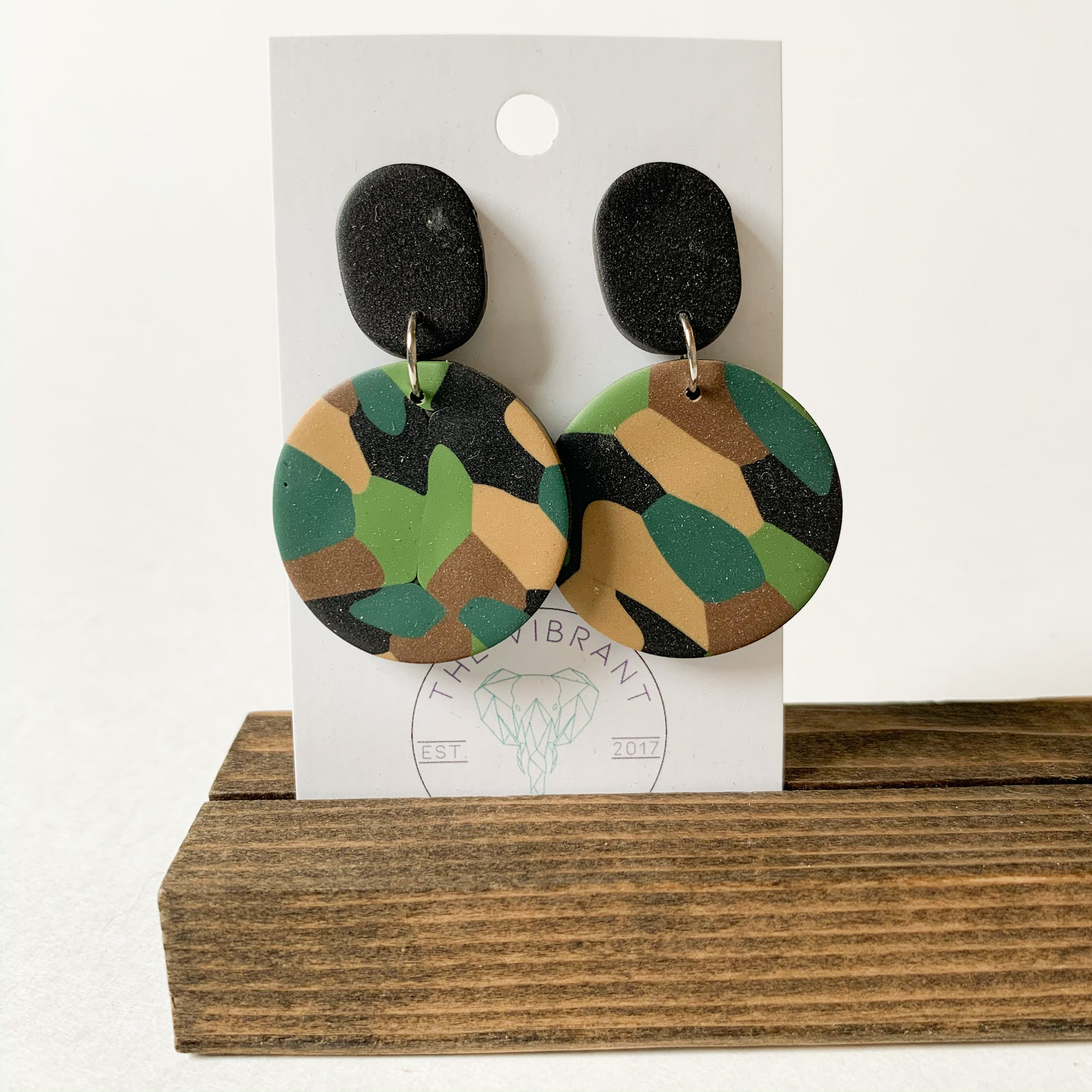 Polymer Clay Earring - Army Circle - Femme Wares Niagara Local Small Business
