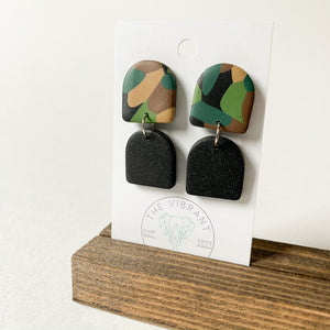 Polymer Clay Earring - Army Double Arch - Femme Wares Niagara Local Small Business