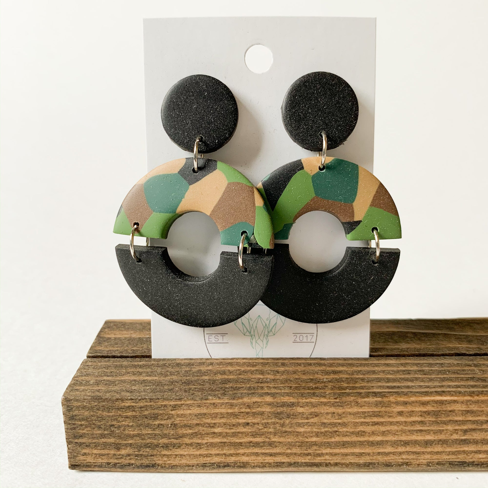 Polymer Clay Earring - Army Triple - Femme Wares Niagara Local Small Business