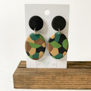 Polymer Clay Earring - Army Oval - Femme Wares Niagara Local Small Business