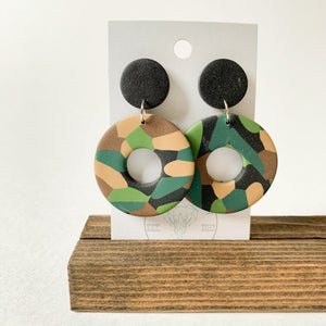 Polymer Clay Earring - Army Donut - Femme Wares Niagara Local Small Business