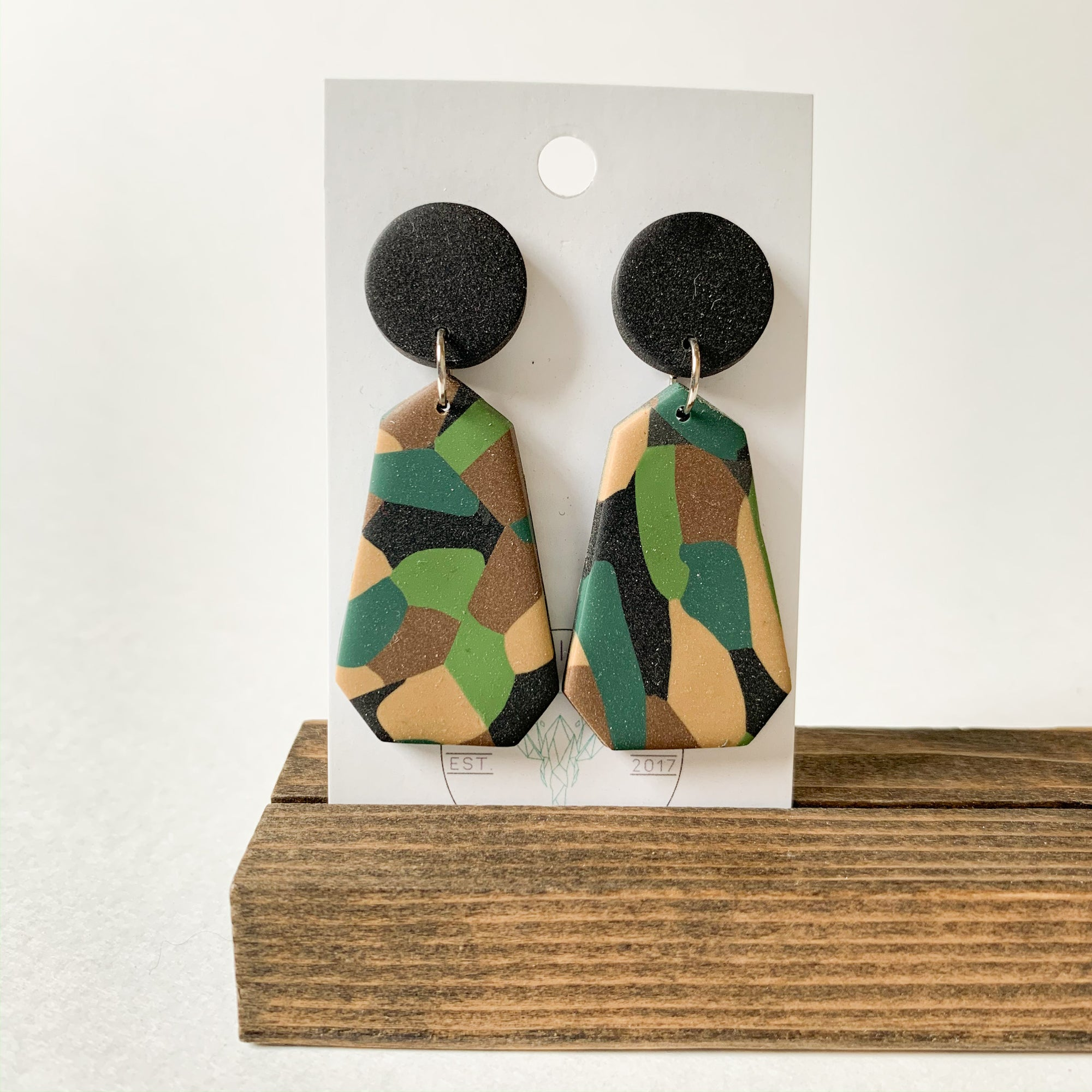 Polymer Clay Earring - Army Petal - Femme Wares Niagara Local Small Business