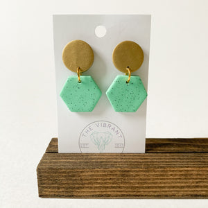 Polymer Clay Earring - Mint Granite Small Mint Hexagon - Femme Wares Niagara Local Small Business