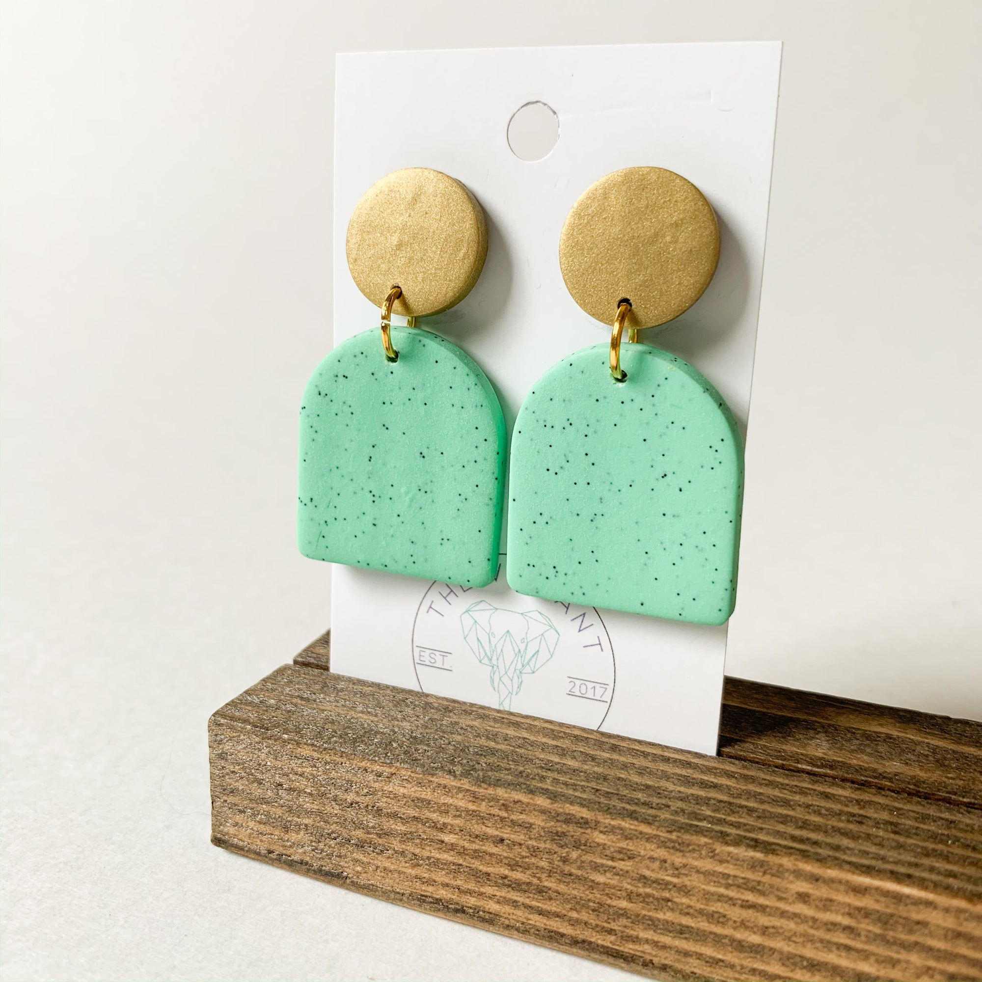 Polymer Clay Earring - Mint Granite Arch - Femme Wares Niagara Local Small Business