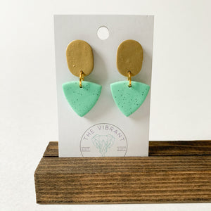 Polymer Clay Earring - Mint Granite Small Triangle - Femme Wares Niagara Local Small Business