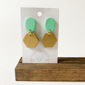 Polymer Clay Earring - Mint Granite Small Gold Hexagon - Femme Wares Niagara Local Small Business