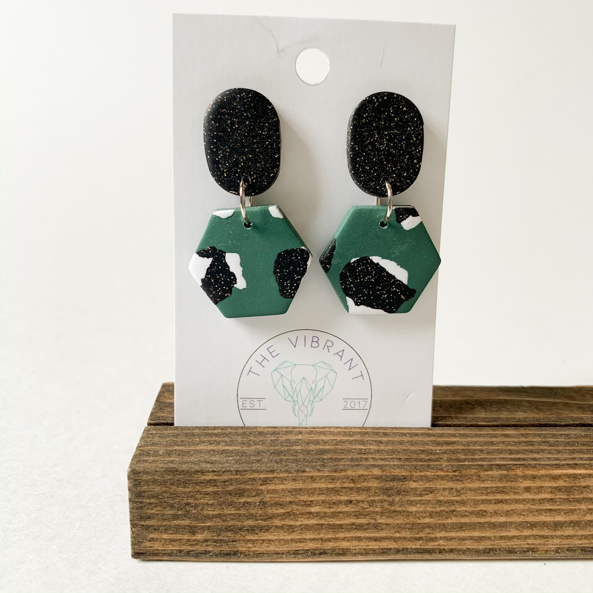 Polymer Clay Earring - Jungle Twinkle Small Hexagon - Femme Wares Niagara Local Small Business