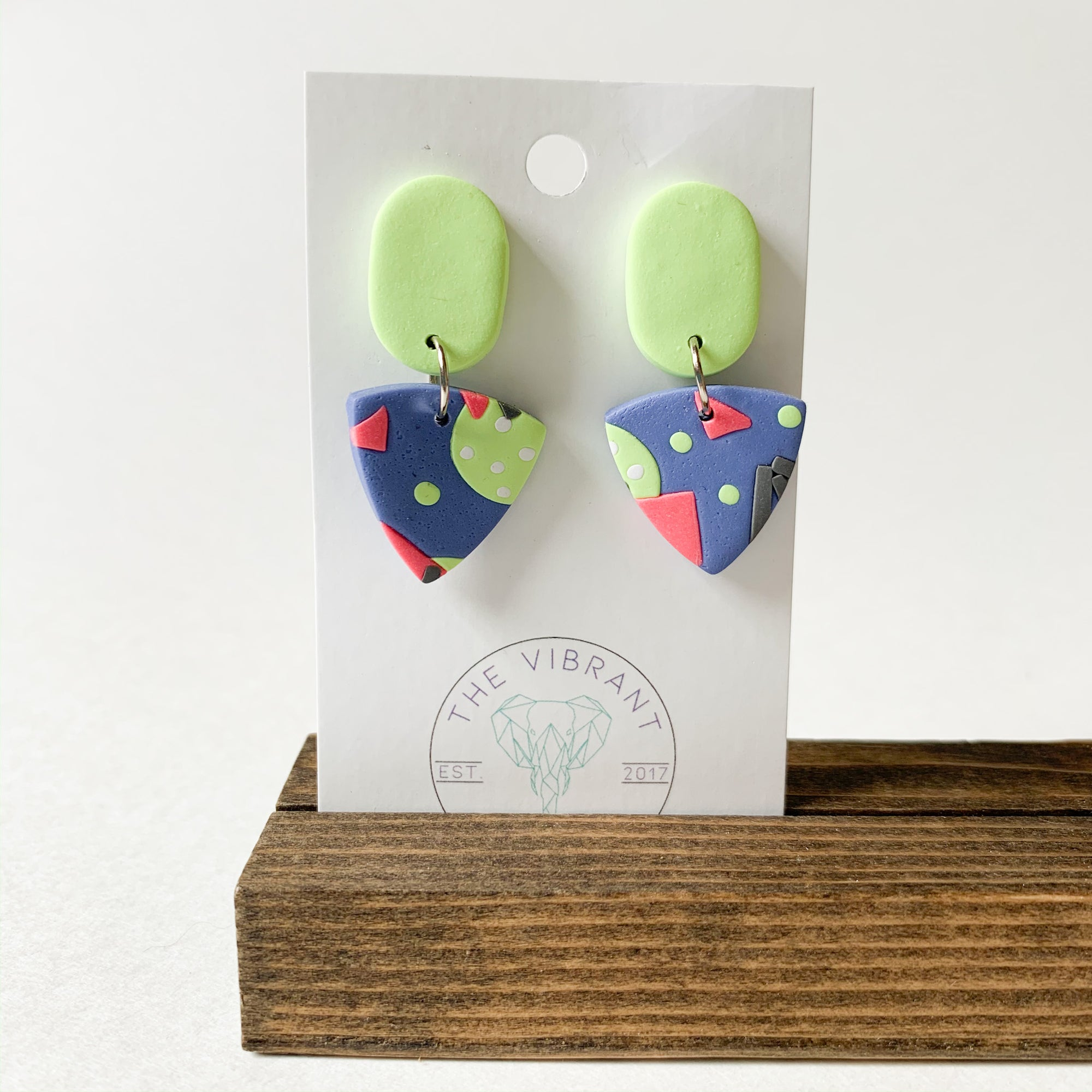 Polymer Clay Earring - Bluestone Small Triangle - Femme Wares Niagara Local Small Business
