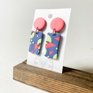 Polymer Clay Earring - Bluestone Pink Rectangle - Femme Wares Niagara Local Small Business