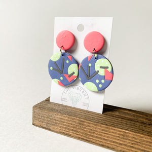 Polymer Clay Earring - Bluestone Pink Circle - Femme Wares Niagara Local Small Business