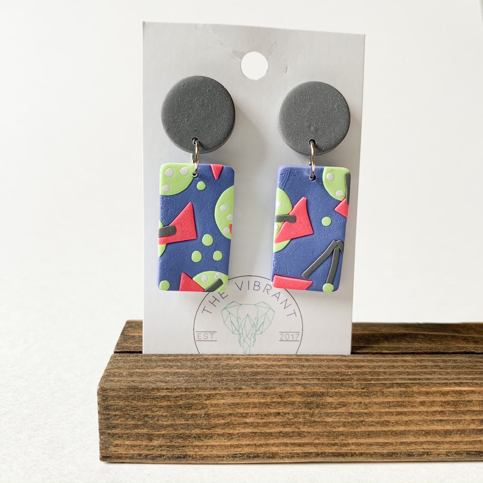 Polymer Clay Earring - Bluestone Gray Rectangle - Femme Wares Niagara Local Small Business